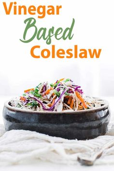 Vinegar Based Coleslaw Recipe - this delicious coleslaw is loaded with green cabbage, red cabbage, carrots and green onions in a tasty sweet cider vinaigrette. Side Dish Recipes, Veggie Recipes, Diet Recipes, Vegetarian Recipes, Cooking Recipes, Healthy Recipes, Side Dishes, Delicious Recipes, Vinegar Based Coleslaw Recipe