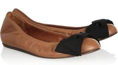Lanvin Grosgain Leather Bow Flats