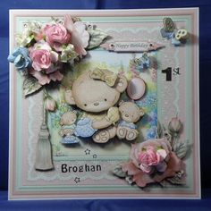 Teddies Tea Party.  8 x 8 boxed decoupaged card See it now on: www.therhodaharveycollection.co.uk