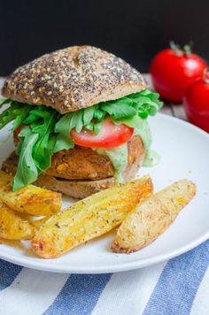 Vegan Lentil Burger with Basil Mayonnaise #healthy #burger #vegan