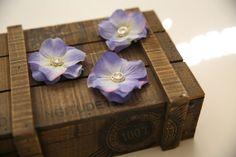 Set of 3 Hydrangea Purple Blue Wedding Hair Flower with Rhinestone Center by RedPurpleWedding, $15.00