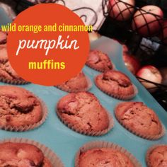wild orange cinnamon pumpkin muffins -- 3 cups whole wheat flour, 1 – 1 1/2 cups coconut sugar, 1 tsp baking soda, 2 tsp baking powder, 1 tsp sea salt, 4 eggs, 2 cups pureed pumpkin, 1 cup melted coconut oil, 3 drops doTERRA Wild Orange essential oil, 1 drop doTERRA Cinnamon essential oil www.onedoterracommunity.com https://www.facebook.com/#!/OneDoterraCommunity