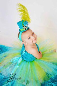 Tutu Dress & Mini top hat, Mad Hatter. Pageant dress, crochet tutu dress, Baby tutu, newborn tutu, child tutu and photography prop. $50.00, via Etsy.