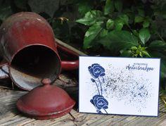 Trauerkarte in Marineblau mit Goldsprenkeln