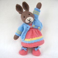 Mother Bunny rabbit doll knitting pattern INSTANT DOWNLOAD