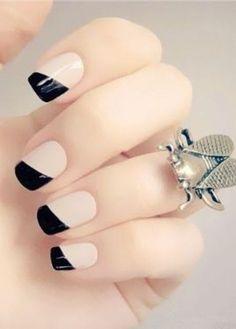 50 Classic Black And White Nail Art Designs Love Nails, Pink Nails, Gel Nails, Nail Polish, Chic Nails, Black Nails, Nail Nail, Acrylic Nails, Cute Nail Art Designs