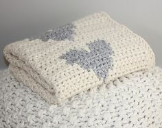 Chunky Knit Crocheted Baby Blanket with Polka Dot Hearts, Cream and Grey Knit Blanket, Grey and White  Blanket,Newborn Blanket,Baby Blanket
