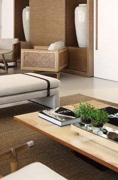 Detalhe da mesa de centro em madeira com tampo de pergaminho do living