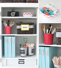 IHeart Organizing: UHeart Organizing: A Home Office to Admire.  Martha Stewart furniture; brick bookends, chalk magnetic board.
