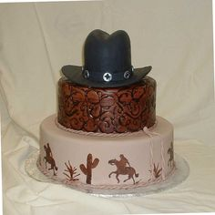 Cowboy cake - My boss and I worked on this one together today.  Got the inspiration from Cake Corner.