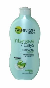 Garnier Body Intensive 7 Days Lotion 400ml Normal Skin Garnier Intensive 7 Days Hydrating Lotion with Moisturising Aloe Vera is enriched with natural-based Aloe Vera and L-Bifidus, inspired by probiotics, which have been selected to meet the specific needs of normal skin