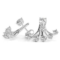 Diamond Fan Earrings, 3 Carat Earrings. White #diamondearrings #14kwhitegold #roundcutdiamonds #pushbackearrings #bridalearrings #weddingearrings #fineearrings #genuinediamonds #naturaldiamonds #engagementearrings #bridesmaidearrings #daintyearrings #fanearrings