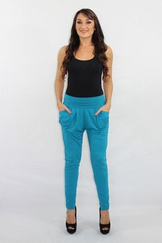 The Main Squeeze teal knit harem pants $30.00 Available at The Laguna Room www.thelagunaroom.com