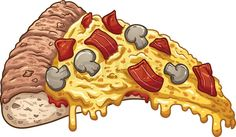 Slice of bacon pizza. Vector clip art illustration with simple ...