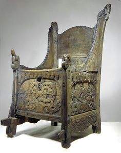 Blakar Chair C1629, Photo: Kulturhistorisk museum, UiO CC BY-NC 3.0. Richly carved box chair dated to ca 1200 (bl.a Grieg 1928: 110, Magerøy 1983: 80) or more loosely to the 13th century (Nygaard, Hammervold & Horgen 2000: 12). Staves are birch while panels are pine. Part of the seat makes up the lid for the box with wooden hinges potruding on both sides, while a hole in the front seem to be from a missing lock.