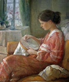 Ugo de Cesare, 1950 - Ugo de Cesare, Italian painter, was born in a small village near Florence Classic Paintings, Beautiful Paintings, Italian Painters, Italian Artist, Sewing Art, True Art, Art Pages, Female Art, Needlework