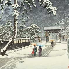Hasui Kawase détail - Temple Honmonji sous la neige 1931