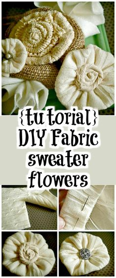 {Tutorial} DIY Fabric Sweater Flowers - 50 Easy Fabric Flowers Tutorial - Make Your Own Fabric Flowers - DIY & Crafts