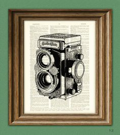 antique TWIN REFLEX CAMERA illustration by collageOrama on Etsy, $6.99