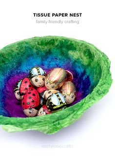 Tissue Paper Nests - to hold all those yummy Easter chocolate treats. So simple to make, so beautiful. Tissue paper crafts for kids in 3D!! // MollyMooCrafts.com