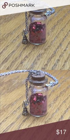Handmade mini bottle necklace Valentine's Day theme mini bottle necklace with Eiffel tower charm on the side 24 inches long but can be as small as needed Accessories