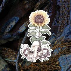 Sunflower Sticker 'Lion Skull Sunflower' witchy laptop sticker sunflower decor witchy things by tifengland