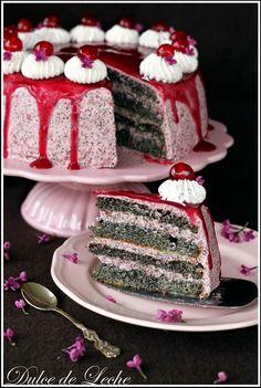 Cherry poppy seed cake (no flour) - Dulce de Leche Lava Cakes, Poke Cakes, Cupcake Cakes, Cupcakes, Pie Recipes, Sweet Recipes, Dessert Recipes, Cooking Recipes, Czech Desserts