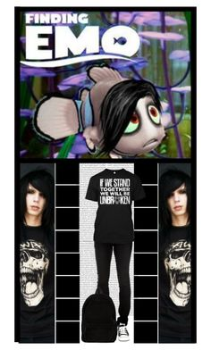 """Finding EMO - starring Nathan & Desiree!"" by irresistible-livingdeadgirl ❤ liked on Polyvore featuring Oris, Ann Demeulemeester, emo, goth, disneybound, andybiersack, Nemo, music, BVB and bands"