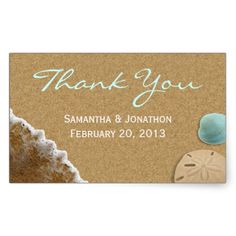 Sand and Shells Beach Theme Wedding Thank You Rectangle Stickers