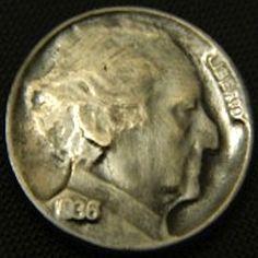 LOU ACKER HOBO NICKEL - BERNIE MADOFF - 1936 BUFFALO PROFILE Hobo Nickel, Paper Cutting, Coins, Carving, Buffalo, Profile, User Profile, Rooms, Wood Carvings