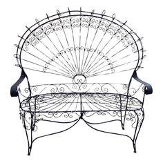 Victorian Style Wrought Iron Peacock Settee | Love Seat
