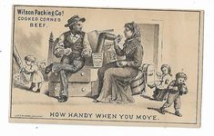 Old Trade Card Wilson Packing Co Cooked Corned Beef Family Moving Day