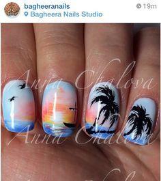 palm tree nail designs - Google Search