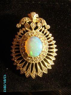 Early 1900s Opal and Diamond Brooch.