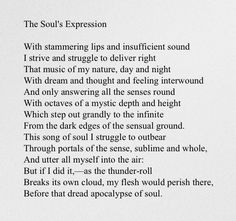 ¤ Poet Ponderings ¤ poetry, quotes & haiku - The Soul's Expression - Elizabeth Barrett Browning Beautiful Poetry, Beautiful Words, Elizabeth Barrett Browning, Poetic Words, Lyric Quotes, Poetry Quotes, Movie Quotes, Literary Quotes, Thoughts And Feelings