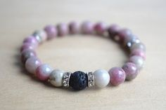 GENEROSITY // Rhodonite Yoga Bracelet with Essential Oil Diffusing Lava Bead ? click the picture to purchase on www.mumblesandthings.com
