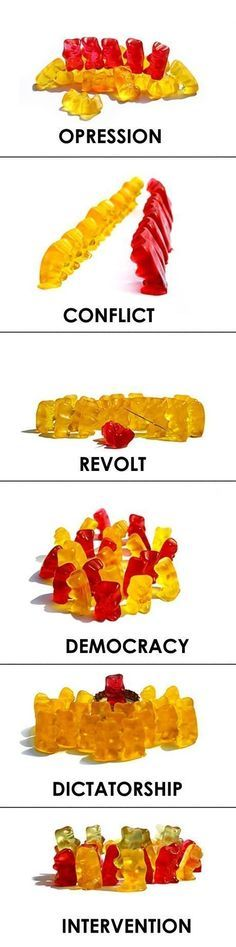 Teaching government systems with gummy bears. I love using unconventional means to teach an idea/concept!!