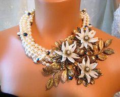 Runway Flower Statement Necklace Wedding Jewelry by zoeJaneJewels1, $250.00