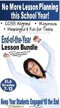 """End your school year with lessons your students will love and remember. Included are four lessons that my students have always found fun, engaging, and meaningful. And I think you'll love the variety and thoroughness of these lessons. 1. """"Curses, Foiled Again,"""" (short readers' theatre + lesson material).  2. """"The Birds"""" Unit (in-depth study of literary elements), 3. Figurative Language with """"Love Interruption,"""" and 4. """"To Serve Man"""" (The Twilight Zone) includes informational reading…"""