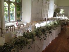 Natural Gypsophila & Ivy Top Table Arrangement