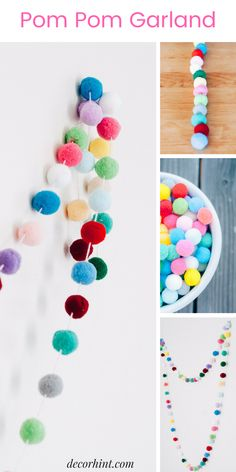 : Make this colorful and fun diy pom pom garland. This gives your room great pops of color and is easy to hang and drape on anything. This makes a great addition to your kids rooms and nurseries, but also your home office too for a creative spin on decor Diy Home Decor For Teens, Crafts For Teens To Make, Diy For Teens, Diy For Kids, Easy Diy Room Decor, Cool Diy, Fun Diy, Pom Pom Garland, Pom Poms
