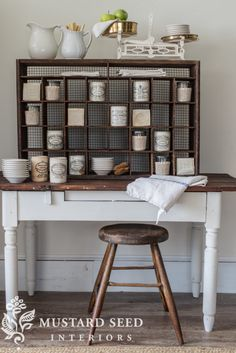 Love the wire backing of this mail sorter from Miss Mustard Seed. Maybe I'll take the back off of my coffee cubbies and wire it! Shabby, Cubbies, Shelves, Shelf Desk, Mail Sorter, Miss Mustard Seeds, Farmhouse Chic, Minimalist Decor, Home Organization