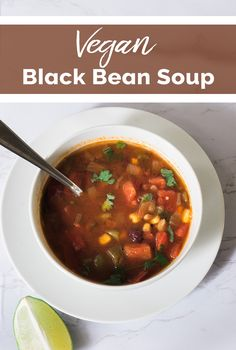 Instant Pot Black Bean Soup - if you're looking for an easy and quick one-pot dish look no further! This tasty soup is full of black beans, fire-roasted tomatoes, and corn then topped with lime juice and cilantro. Easy Vegan Dinner, Vegan Dinner Recipes, Vegan Dinners, Soup Recipes, Free Recipes, Black Bean Soup, Black Beans, One Pot Dishes, Fire Roasted Tomatoes