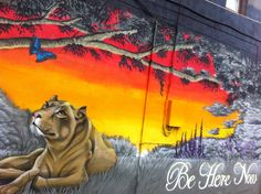 "The Lioness and the Butterfly - Andy's ""Be Here Now"" mural in Venice Beach, Los Angeles, California"