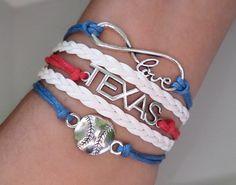 TEXAS BASEBALL Bracelet Baseball jewelry by SummerWishes on Etsy