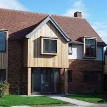Exterior wood cladding species including Western Red Cedar, Siberian Larch, ThermoWood and Accoya. Timber cladding available from UK suppliers Silva Timber. Wood Cladding Exterior, Larch Cladding, Interior Cladding, House Cladding, Facade House, House Exteriors, Brick Extension, Extension Ideas, Fence Panels Uk