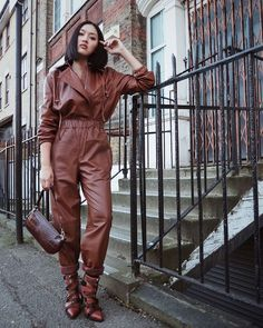 All Brown Outfits: Leather Jumpsuit Fashion Weeks, Fashion Outfits, Womens Fashion, Leather Jumpsuit, Leather Pants, Brown Jumpsuits, Brown Outfit, Jumpsuit Outfit, Fashion Gallery