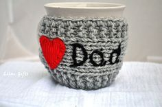 Personalized Gift for Dad, Personalized Mug Cozy, any color, any word, red heart, grey color, Fathers day