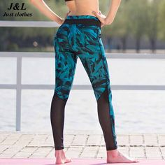 New! Blue Feather Print Leggings Women Sexy Mesh Splice Fitness Legging Brand Sporting Style Dry Quick Pants Slim Jeggings