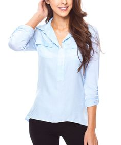 Another great find on #zulily! Blue Double Pocket Hi-Low Top #zulilyfinds